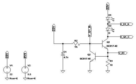 current limiting diode led driver solved led driving with 2 bjt s current source circuit