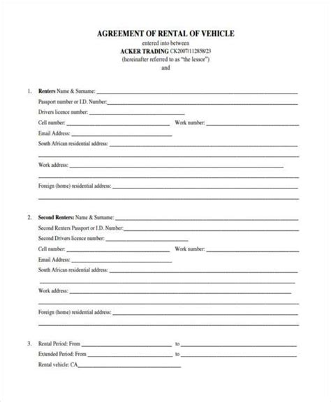car lease agreement template south africa templates