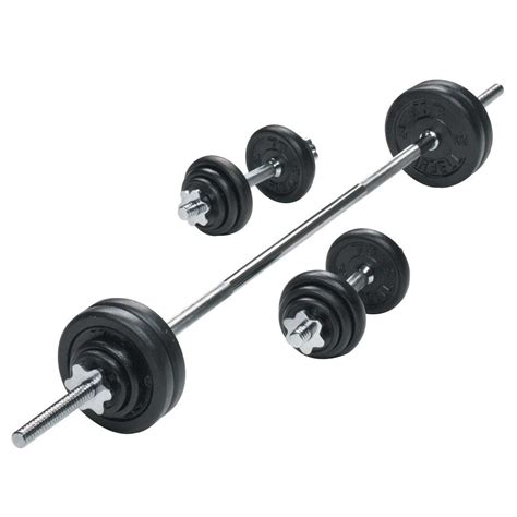 Barbel Set York 50kg Black Cast Iron Barbell And Dumbbell Set