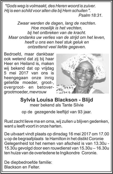 Overleden - Sylvia Blackson - Blijd - FamilieNieuws.com