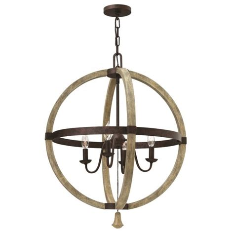 large decorative globe ceiling chandelier in rust iron