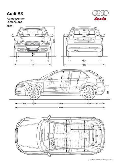 Audi A3 Technische Daten by Audi A3 8p Abmessungen Technische Daten L 228 Nge