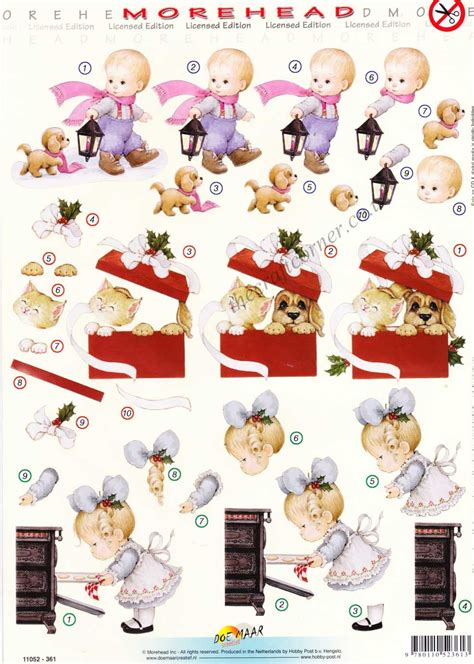 Die Cut Decoupage Sheets - morehead baking puppy kitten in a