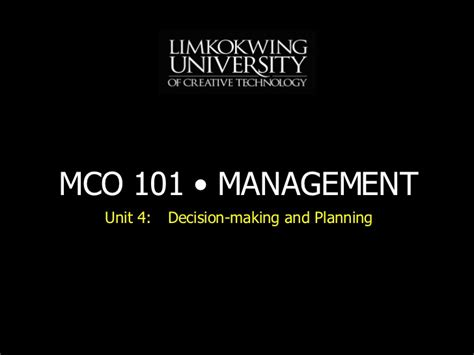 Lecturer After Mba by Mba Mco101 Unit 4 Lecture 5 20080622