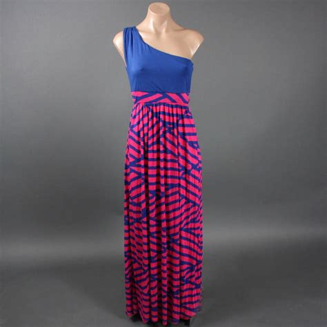 Maxi Safira Pink blue pink stripe two tone colorblock empire waist summer