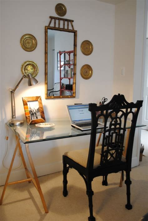 Picture Of Diy Sawhorse Desk With Glass Top Diy Glass Desk