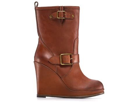 lucky brand tatum wedge boots in brown lyst