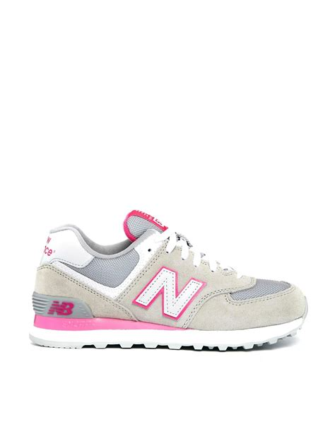 grey and pink new balance sneakers pink new balance gray pink suede and mesh 574 sneakers