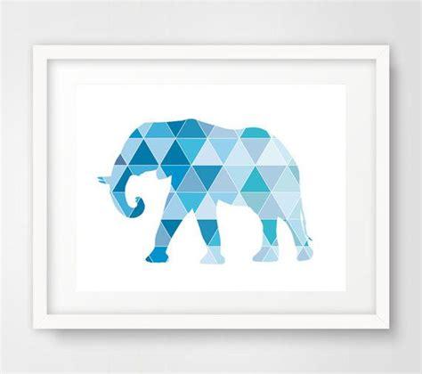 Pigura Print Wall Decor 5 blue geometric elephant wall print print details 1