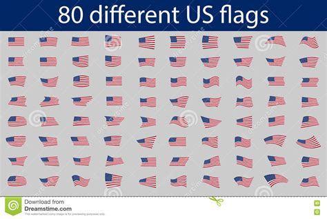 u s 80 different us flags stock vector image 71998617