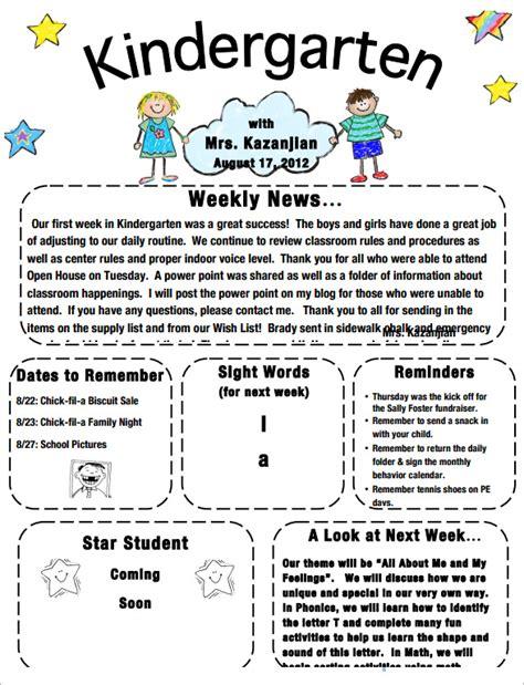 kindergarten newsletter templates free sle kindergarten newsletter template 15 free