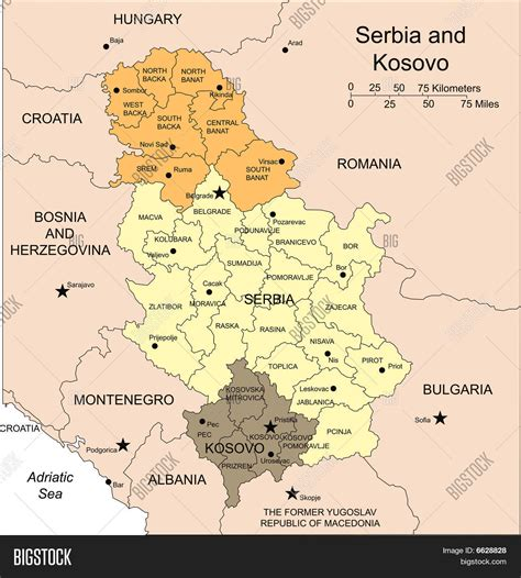 map of and surrounds serbia and kosovo administrative districts capitals and