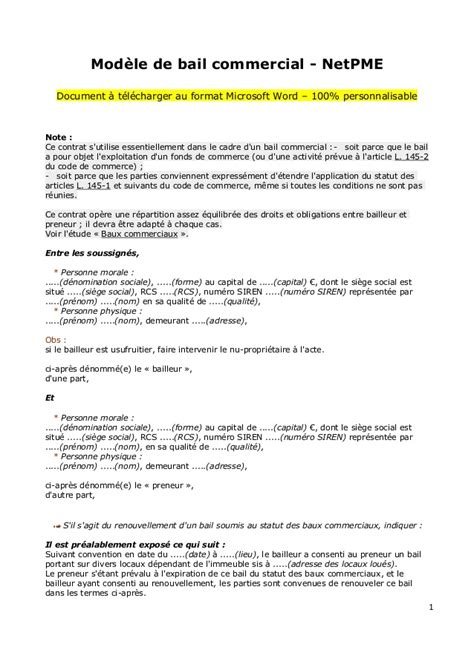 Contrat D Commercial Modèle Modele Bail Local Commercial Document