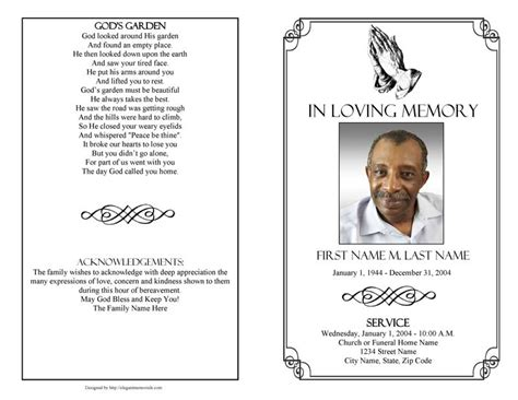 funeral program templates funeral programs praying
