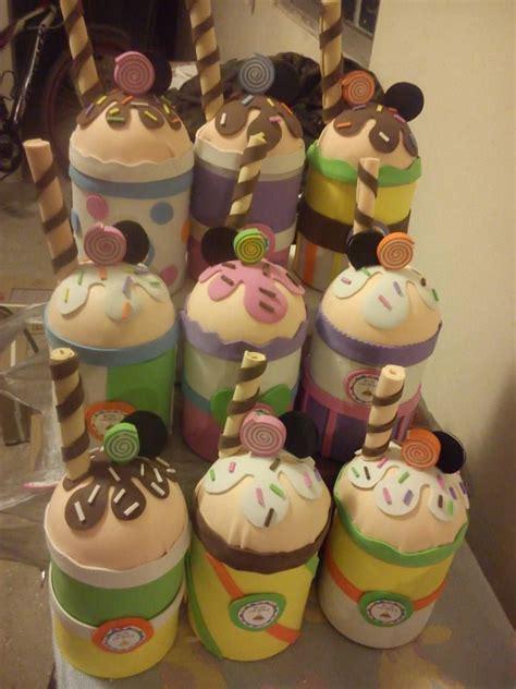 dulceros con latas de leche de frutillas dulceros en forma de malteada o cupcake con latas de