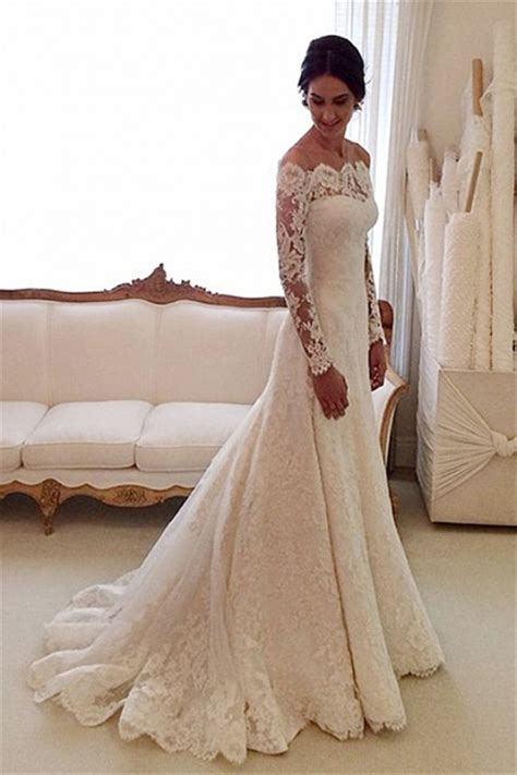 white   shoulder lace long sleeve bridal gowns