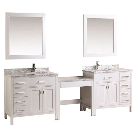 Home Depot Makeup Vanity by Design Element Two 36 In W X 22 In D Vanity In White With Marble Vanity Top In Carrara