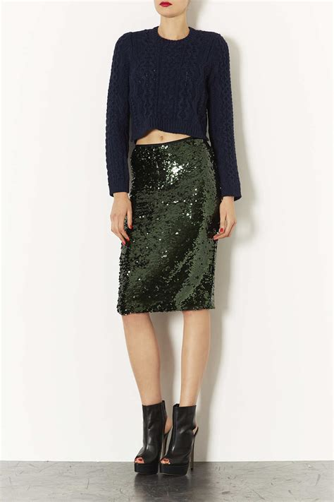 topshop sequin pencil skirt in green lyst