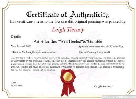 artist certificate of authenticity template artist maker design and print your free