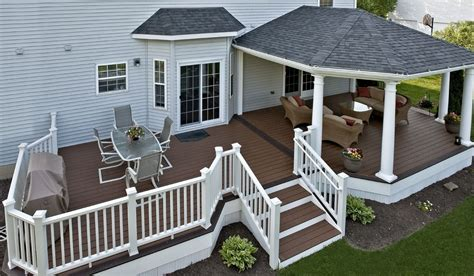 trex deck with hip roof and grill bump out amazing