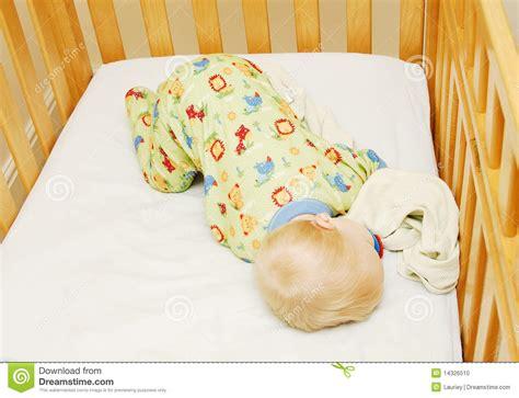 Baby Sleeping On Side In Crib Sleeping Baby In Crib Stock Photo Image 14326510