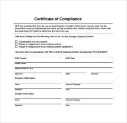 compliance form template sle certificate of compliance 12 documents in pdf