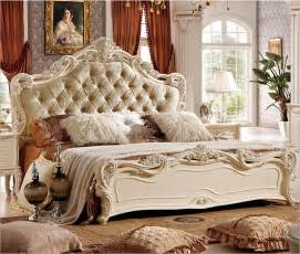 Bed Backrest Design by Hand Carved Pearl White Bed With Fabric Backrest A808 In