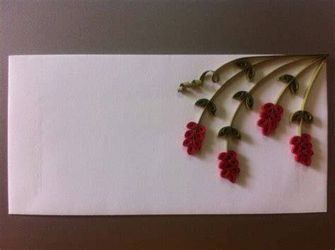 flower design envelopes quilled flowers on an envelope done by me pinterest