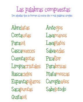 palabras compuestas para ninos en espanol palabras compuestas printables pictures to pin on