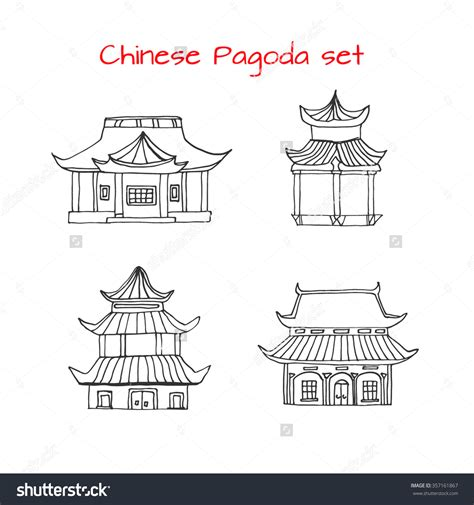 chinese house coloring page drawn house chinese style pencil and in color drawn
