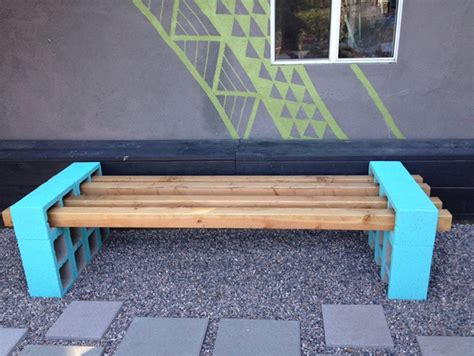 cinder block bench diy cinder block outdoor bench the owner builder network
