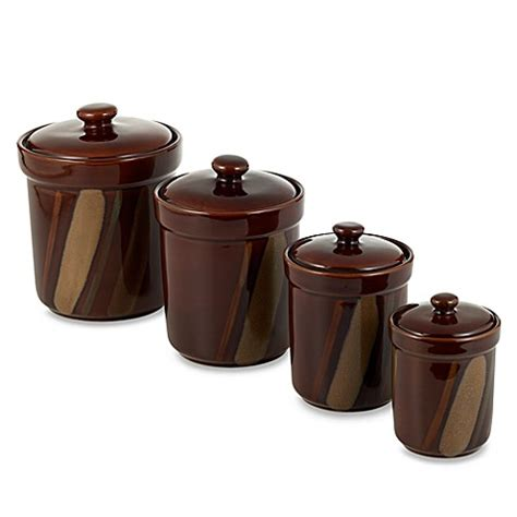 nova brown canisters set of 4 bed bath beyond buy sango avanti brown canisters set of 4 from bed bath