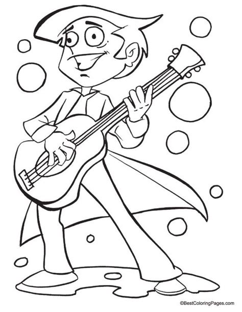 guitar coloring pages pdf boy playing guitar coloring page coloring pages az