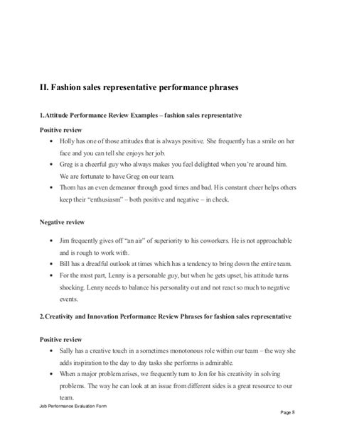 Fashion Sales Representative by Fashion Sales Representative Performance Appraisal