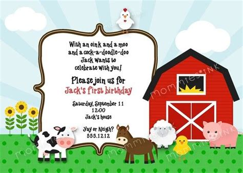 Farm Birthday Like The Wording On Invitation Kids Pinterest Farm Birthday Birthdays And Farm Invitation Template