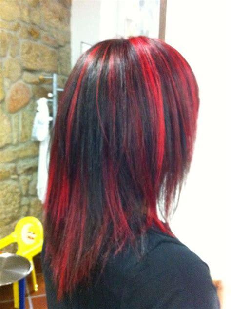 Imagenes De Iluminaciones Rojas | combinaci 243 n mechas rojas y negras pelo te 241 ido pinterest