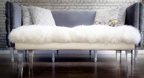 sheepskin bench luxe white sheepskin lucite bench from tov tov o22