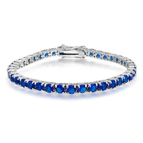 Blue Bracelet blue sapphire color tennis bracelet 7in