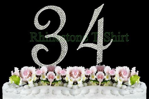 Large Rhinestone NUMBER (34) Cake Topper 34th Birthday