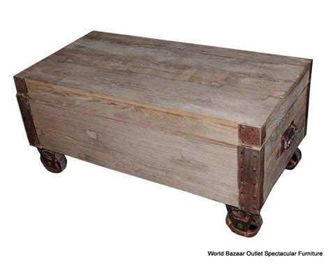 Metal Wheels For Coffee Table 47 Quot Coffee Table Solid Elm Wood Caster Wheels Metal Trim Industrial Design Ebay