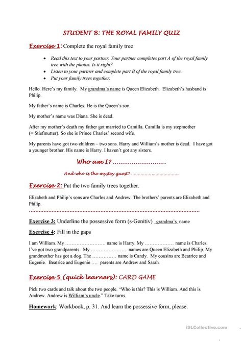 printable quiz about the royal family royal family quiz possessive form worksheet free esl