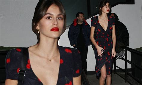 kaia gerber cherry dress kaia gerber in cherry print dress in la daily mail online