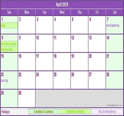 printable holiday planner 2018 april 2018 calendar with holidays printable