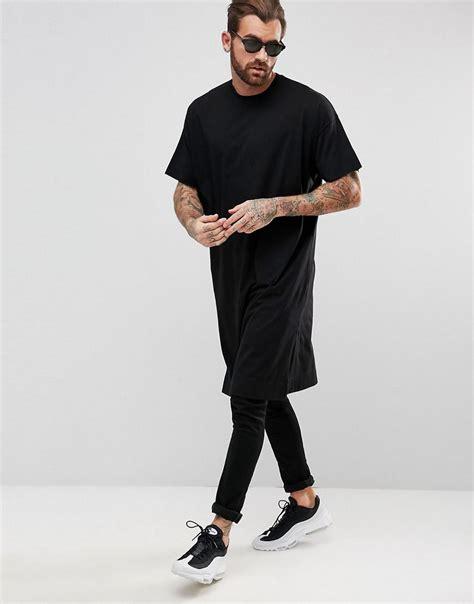 asos longline oversized t shirt in black in black for lyst
