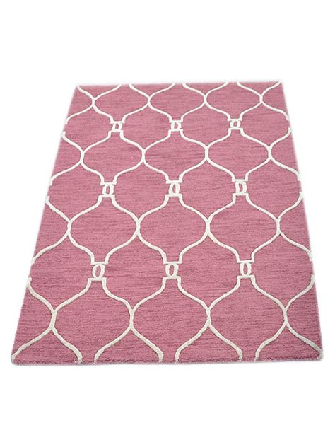 pink and white area rug buy tufted woolen pink white area rug k01004 getmyrugs