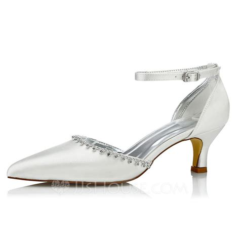 Wedding Shoes Dyeable by S Satin Low Heel Pumps Dyeable Shoes With Rhinestone