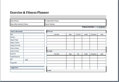 template for exercise program exercise and fitness planner template word document