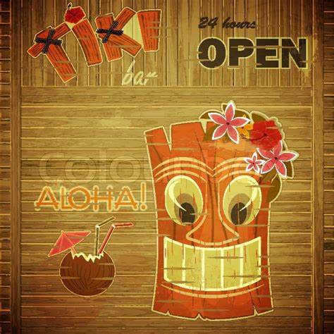 Vintage Design Hawaii Menu Invitation To Tiki Bar Vector Illustration Stock Vector Colourbox Tiki Bar Menu Template