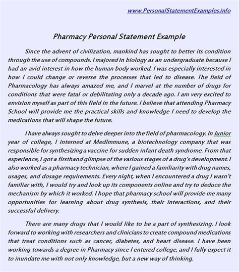 Pharmacy Personal Statement Essay by Useful Pharmacy Personal Statement Exle Http Www
