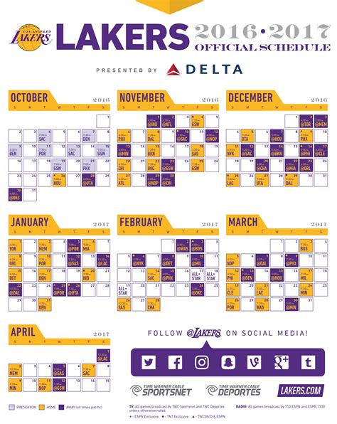lakers printable schedule calendar template 2016